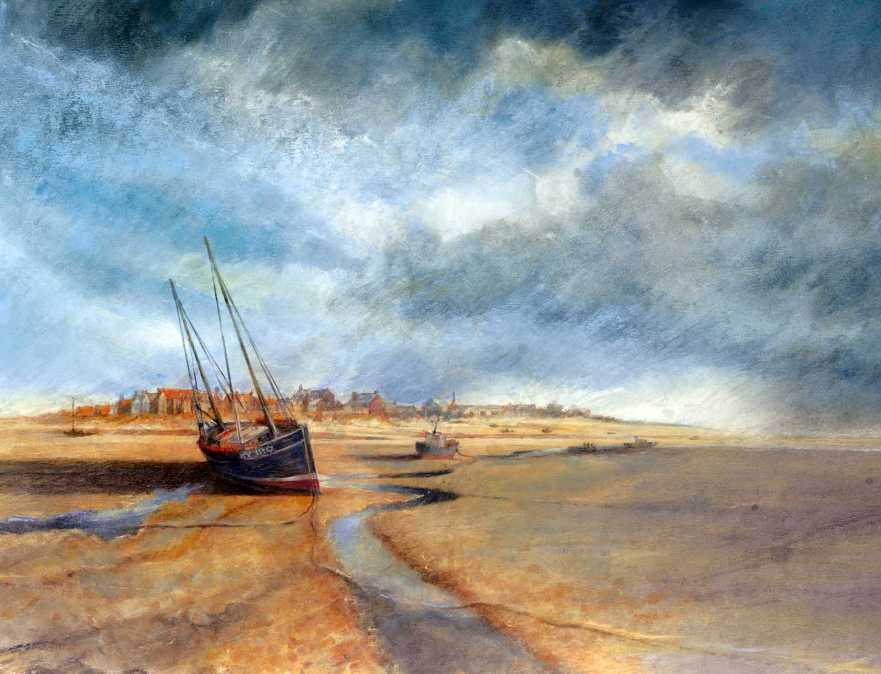 Painting of low tide at Alnmouth beach, Northumberland