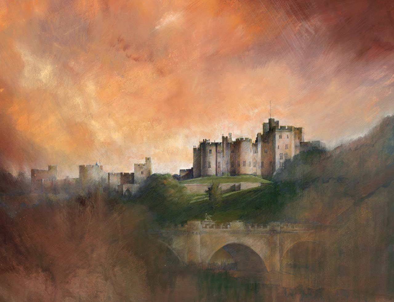 Painting of Alnwick Castle, Northumberland at sunset