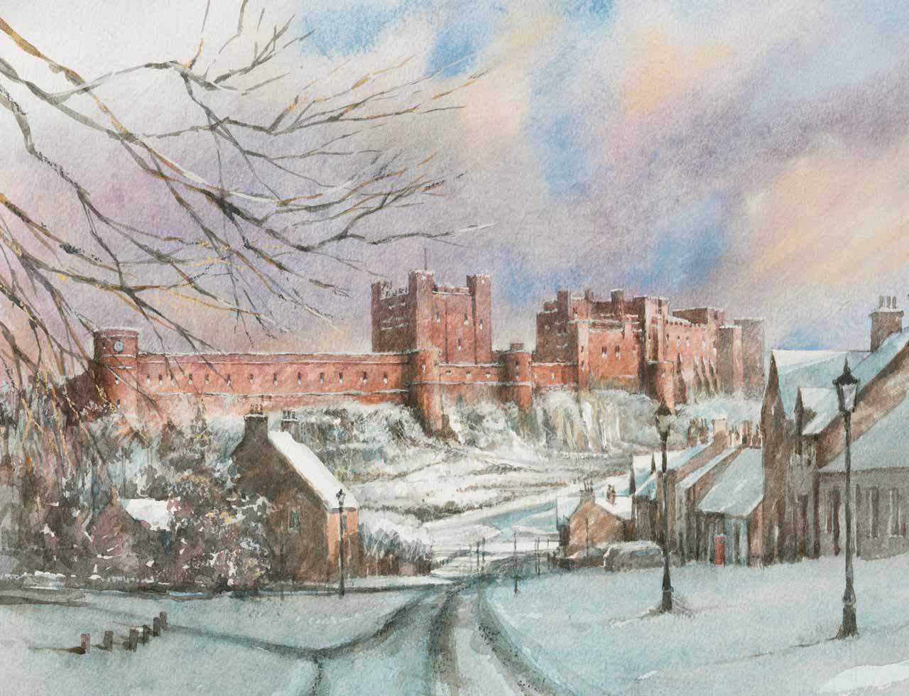 Painting of Bamburgh village and castle in Winter