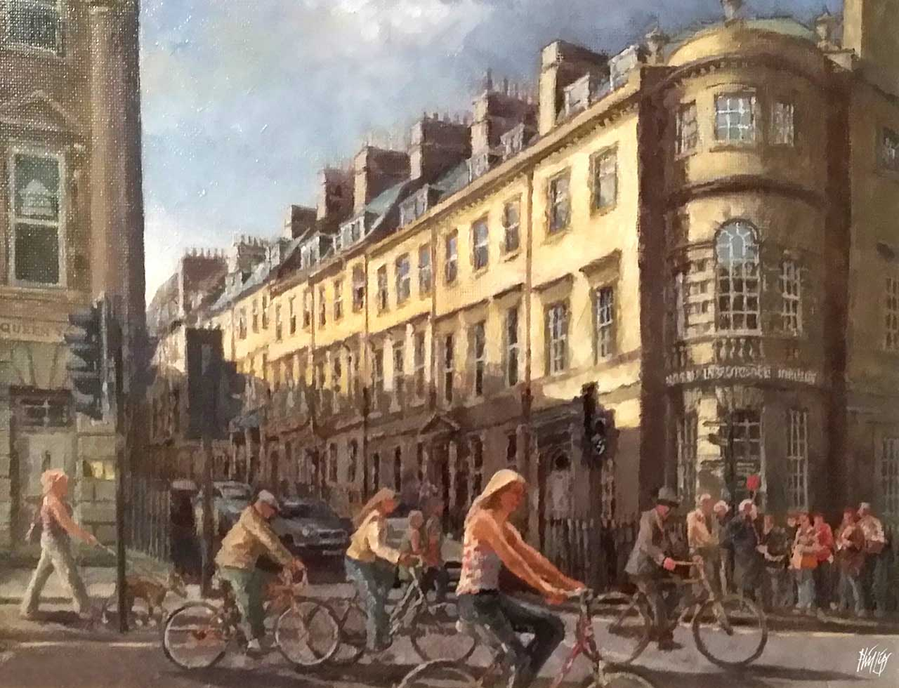 Painting of rush hour in the city of Bath, Somerset