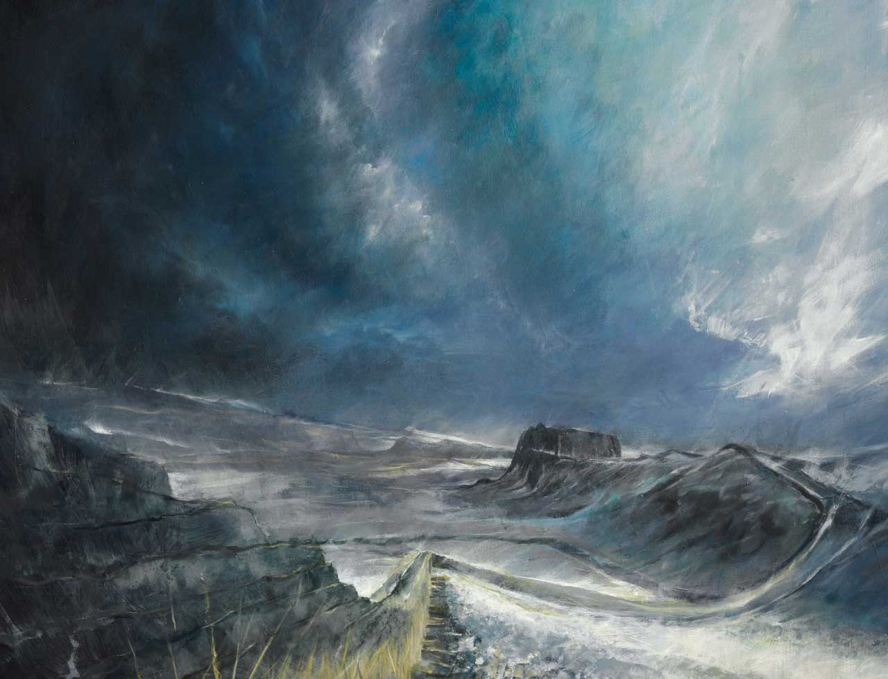 Painting of Hadrian's Wall in the snow