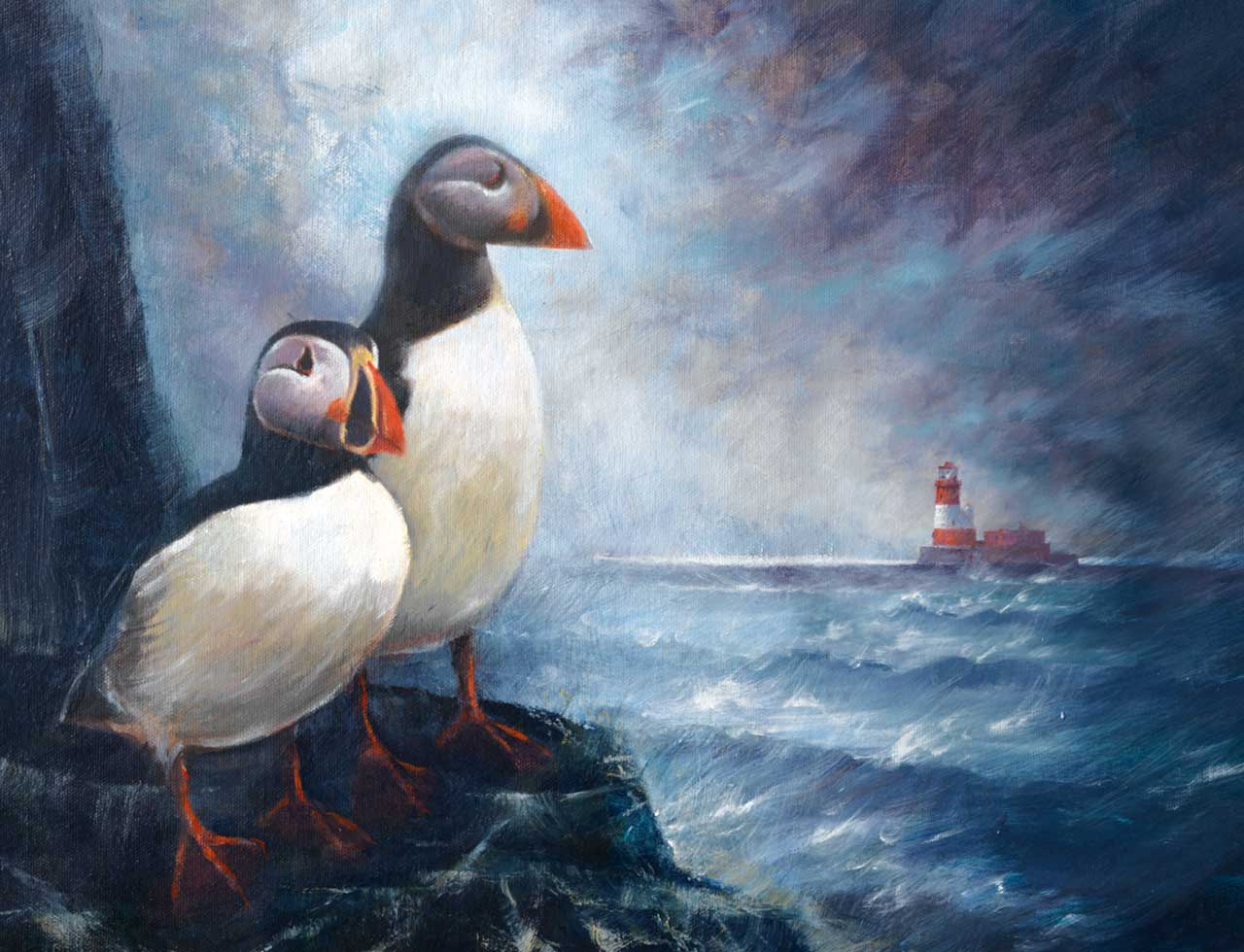 painting of Farne Island puffins
